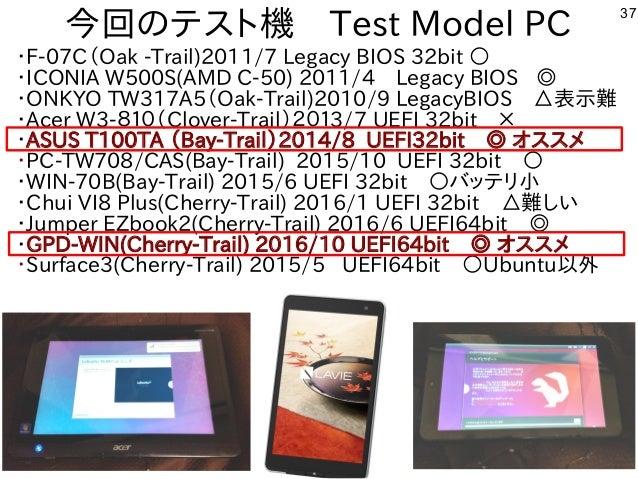 37 今回のテスト機 Test Model PC ・F-07C(Oak -Trail)2011/7 Legacy BIOS 32bit ○ ・ICONIA W500S(AMD C-50) 2011/4 Legacy BIOS ◎ ・ONKYO ...