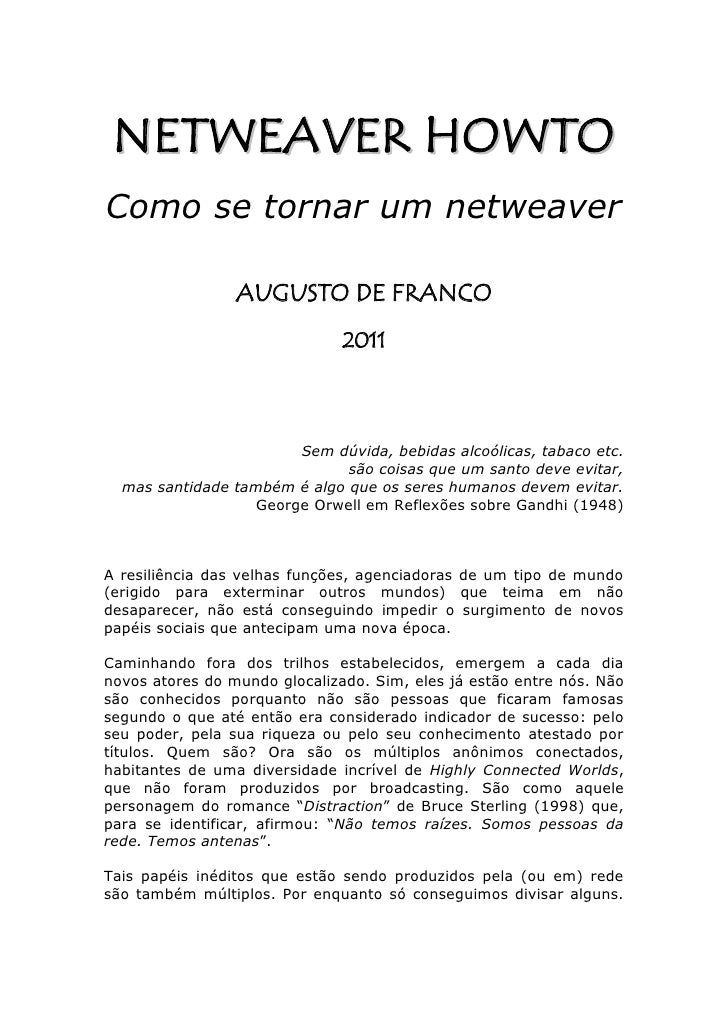 NETWEA VER HOW TOComo se tornar um netweaver                 AUGUSTO DE FRANCO                               2011         ...