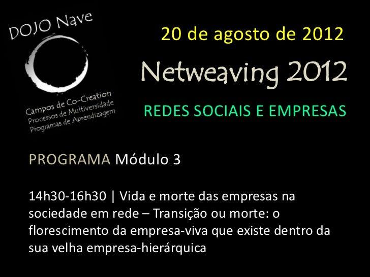 20 de agosto de 2012                 Netweaving 2012                  REDES SOCIAIS E EMPRESASPROGRAMA Módulo 416h30-17h00...