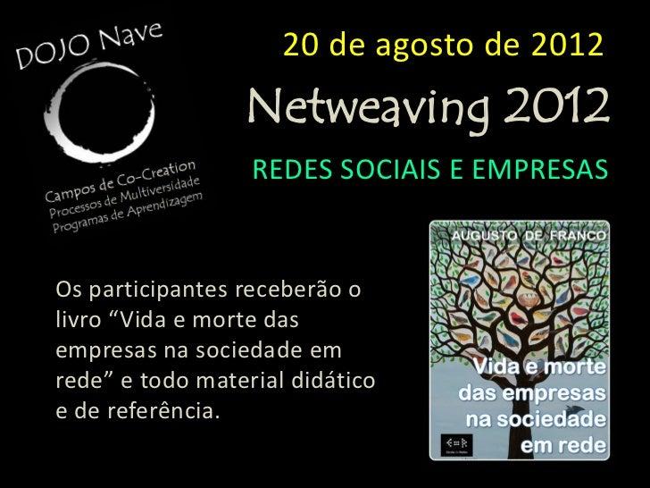 20 de agosto de 2012                 Netweaving 2012                  REDES SOCIAIS E EMPRESASVAGAS LIMITADASInvestimentoR...