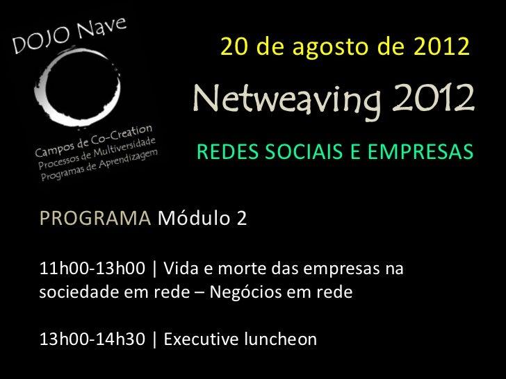 20 de agosto de 2012                  Netweaving 2012                  REDES SOCIAIS E EMPRESASPROGRAMA Módulo 314h30-16h3...