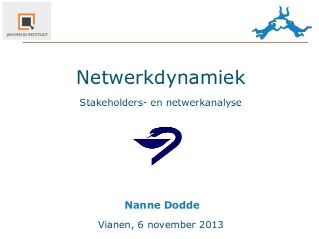 Netwerkdynamiek Stakeholders- en netwerkanalyse  Nanne  Dodde Vianen, 6 november 2013