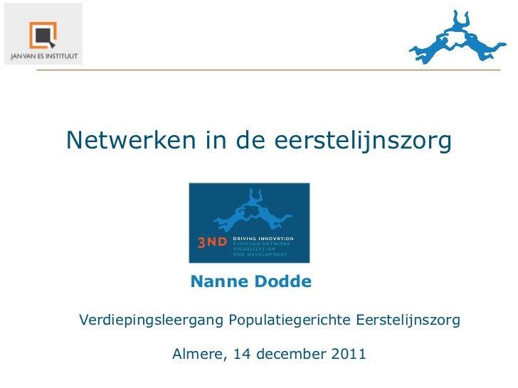 Netwerken in de eerstelijnszorg                Nanne Dodde Verdiepingsleergang Populatiegerichte Eerstelijnszorg        ...