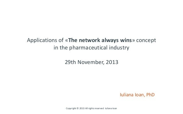 Applications of «The network always wins» concept in the pharmaceutical industry 29th November, 2013 Iuliana Ioan, PhD Cop...