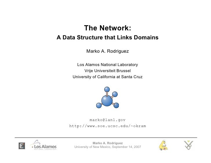 The Network: A Data Structure that Links Domains               Marko A. Rodriguez         Los Alamos National Laboratory  ...