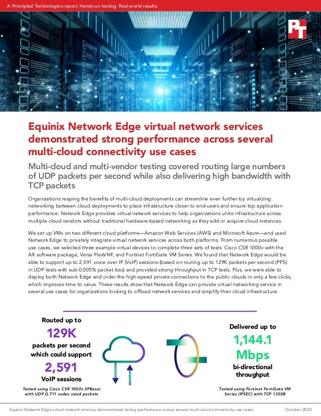 Equinix Network Edge virtual network services demonstrated strong performance across several multi-cloud connectivity use ...