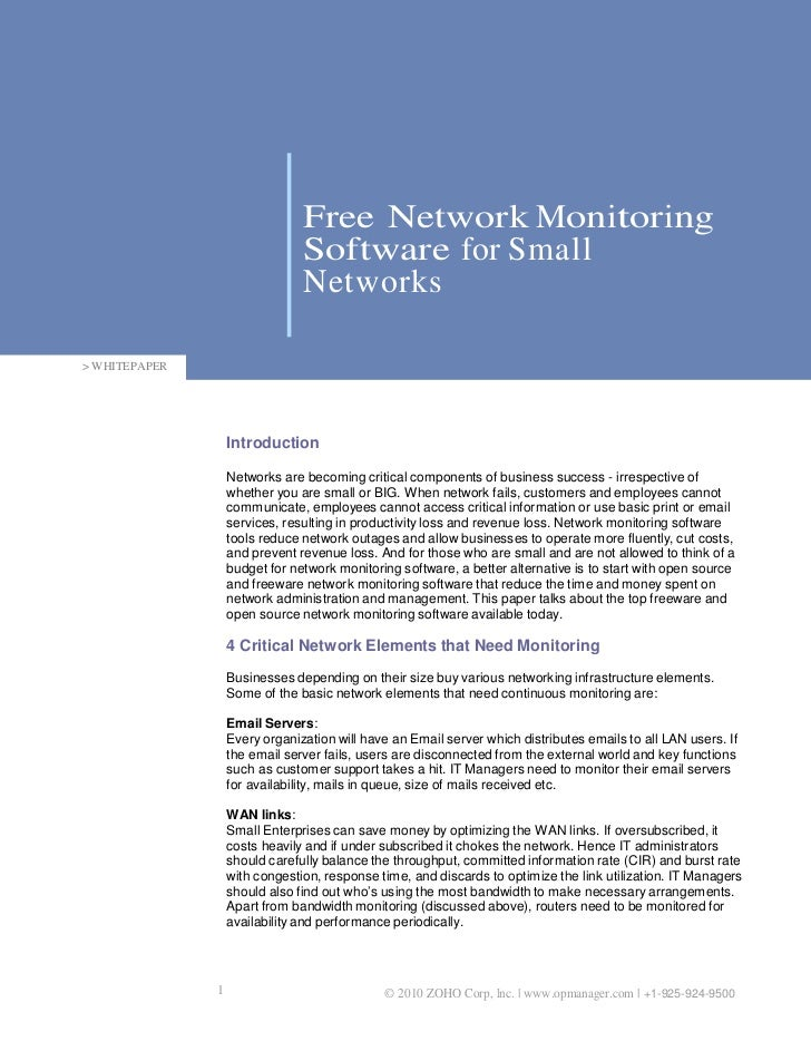 Free Network Monitoring                                Software for Small                                Networks> WHITEPA...