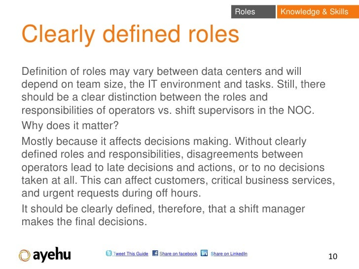 Roles    Knowledge & SkillsClearly defined rolesDefinition of roles may vary between data centers and willdepend on team s...