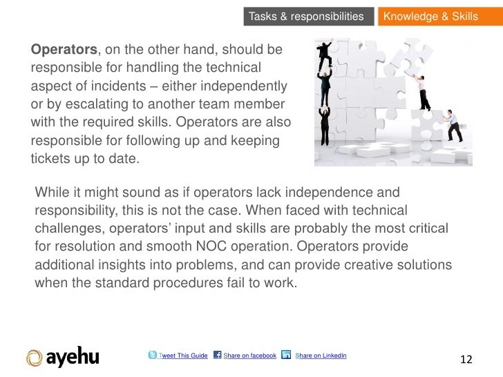 Tasks & responsibilities        Knowledge & SkillsOperators, on the other hand, should beresponsible for handling the tech...