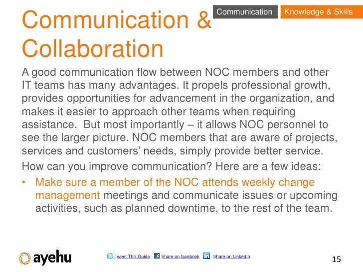 Communication      Knowledge & SkillsCommunication &CollaborationA good communication flow between NOC members and otherIT...
