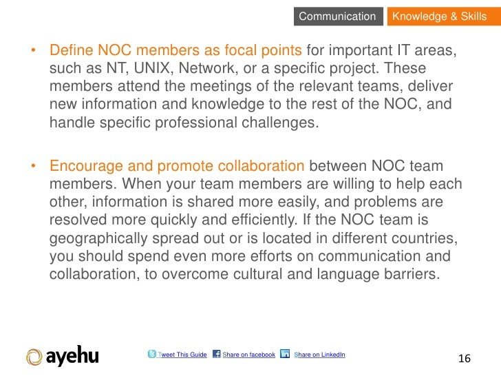 Communication      Knowledge & Skills• Define NOC members as focal points for important IT areas,  such as NT, UNIX, Netwo...
