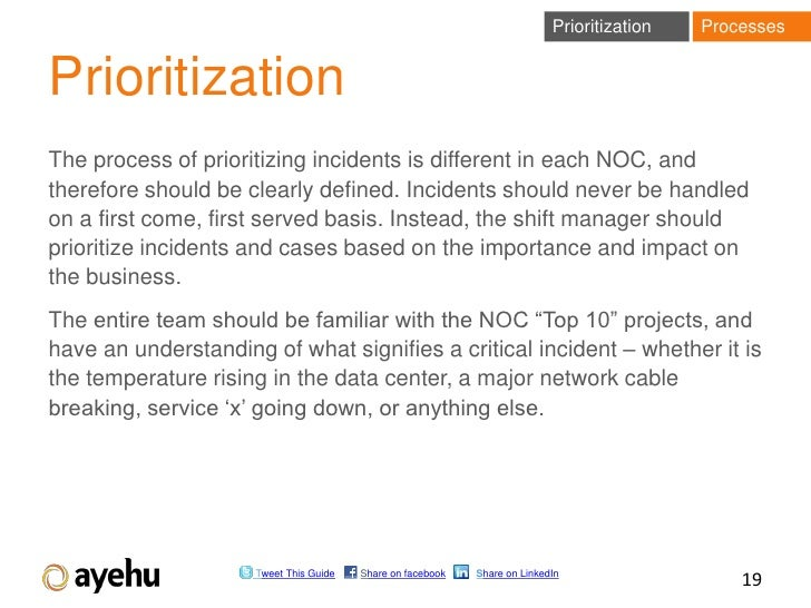 Prioritization   ProcessesPrioritizationThe process of prioritizing incidents is different in each NOC, andtherefore shoul...