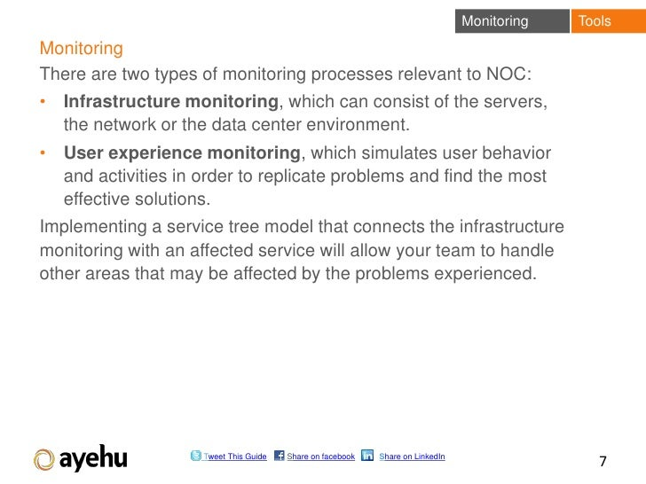 Monitoring   ToolsMonitoringThere are two types of monitoring processes relevant to NOC:• Infrastructure monitoring, which...