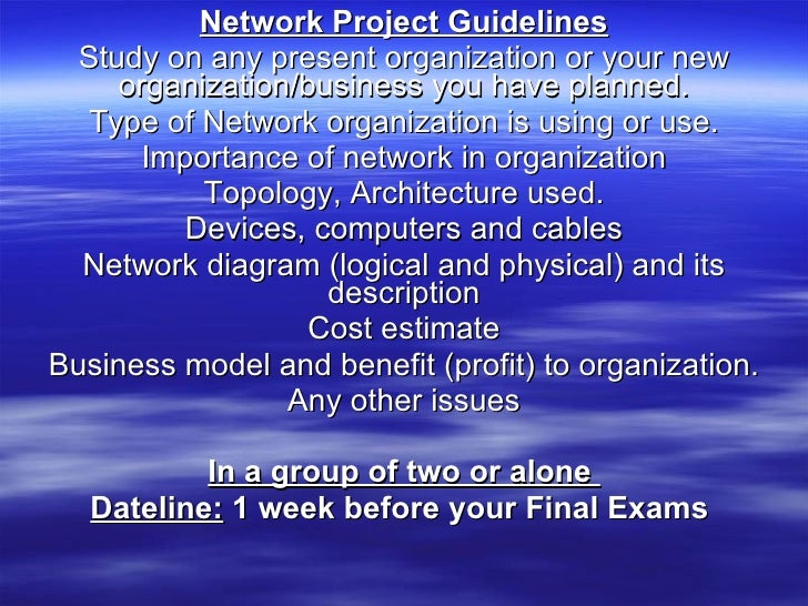 Network Project Guidelines Study on any present organization or your new organization/business you have planned. Type of N...