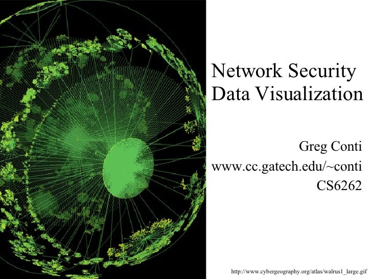 Network Security  Data Visualization Greg Conti www.cc.gatech.edu/~conti CS6262 http://www.cybergeography.org/atlas/walrus...