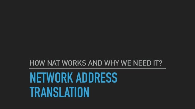 What is nat in networking pdf