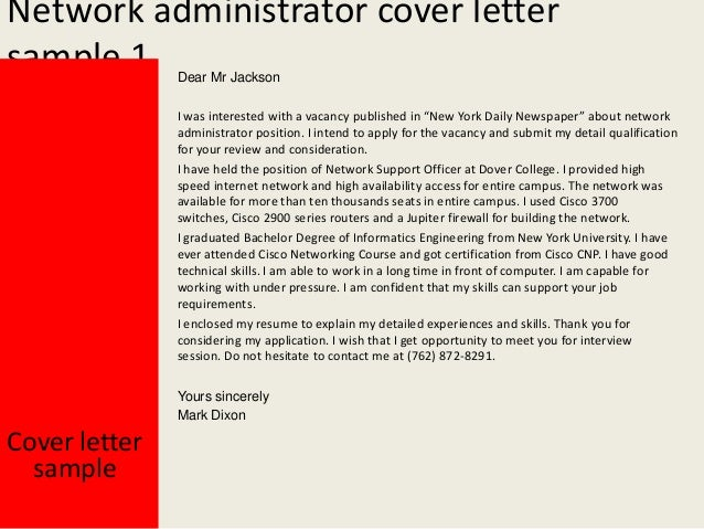 cover letter for network administrator job - network administrator cover letter
