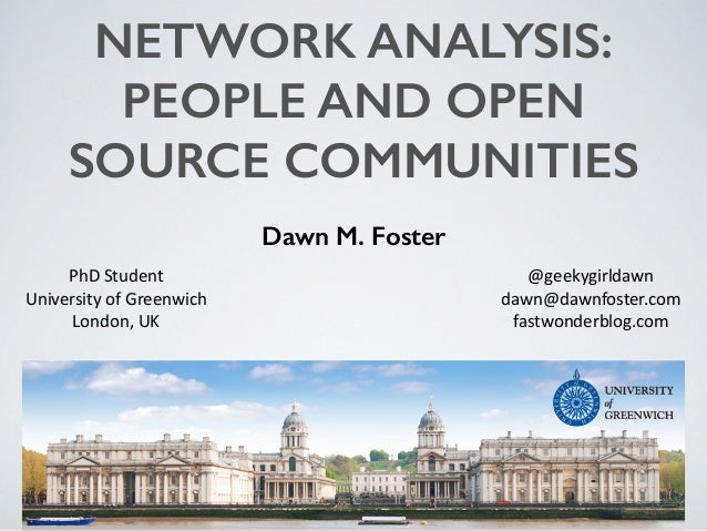 NETWORK ANALYSIS: PEOPLE AND OPEN SOURCE COMMUNITIES Dawn M. Foster @geekygirldawn	    dawn@dawnfoster.com	    fastwonderb...