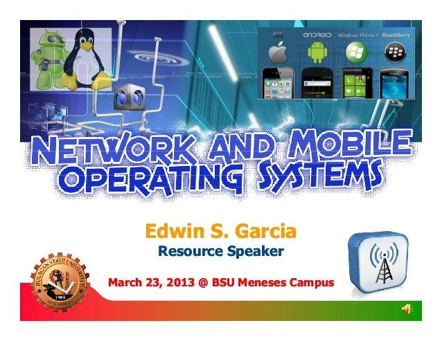 Edwin S. Garcia       Resource SpeakerMarch 23, 2013 @ BSU Meneses Campus