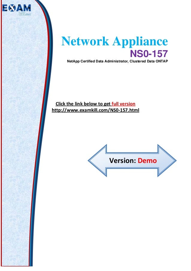 Network appliance ns0 157 latest exam practice questions network appliance ns0 157 netapp certified data administrator clustered data ontap click the link ccuart Images