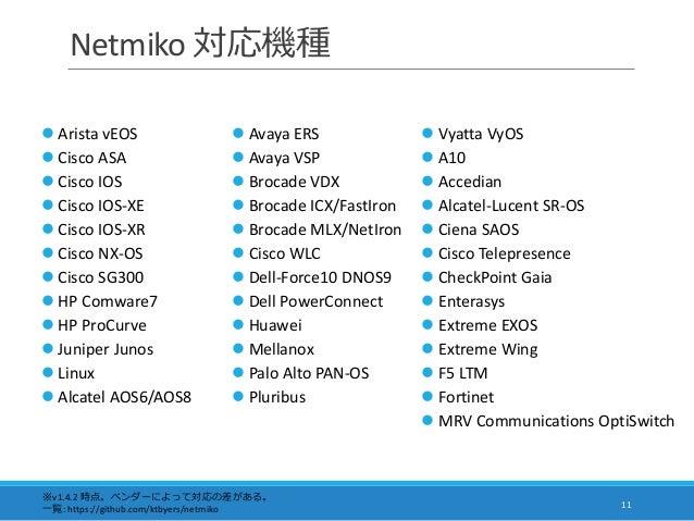 Netmiko 対応機種 11  Arista vEOS  Cisco ASA  Cisco IOS  Cisco IOS-XE  Cisco IOS-XR  Cisco NX-OS  Cisco SG300  HP Comwa...
