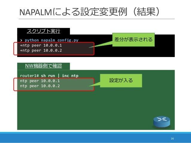 NAPALMによる設定変更例(結果) 26 > python napalm_config.py +ntp peer 10.0.0.1 +ntp peer 10.0.0.2 差分が表示される router1# sh run | inc ntp n...