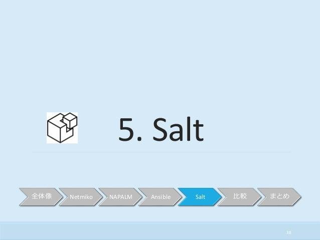 38 5. Salt 全体像 Netmiko NAPALM Ansible Salt 比較 まとめ