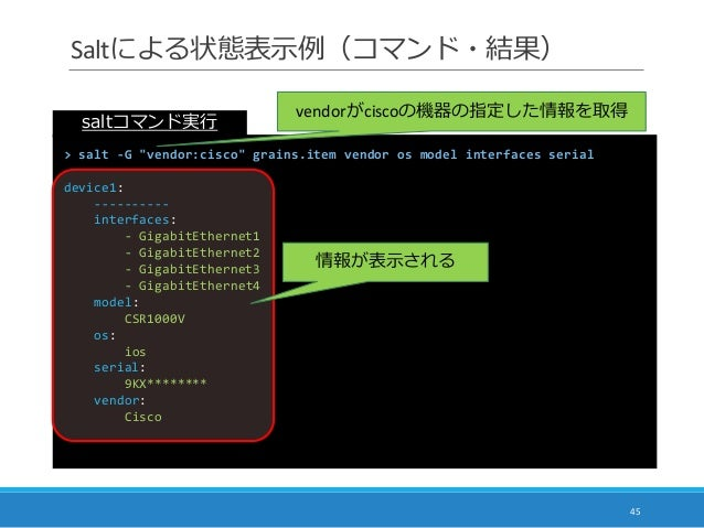 "Saltによる状態表示例(コマンド・結果) 45 > salt -G ""vendor:cisco"" grains.item vendor os model interfaces serial device1: ---------- interf..."