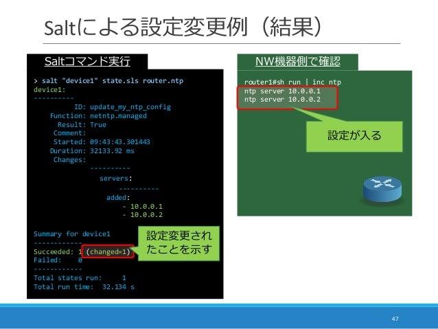 "Saltによる設定変更例(結果) 47 router1#sh run | inc ntp ntp server 10.0.0.1 ntp server 10.0.0.2 設定が入る NW機器側で確認Saltコマンド実行 > salt ""devi..."