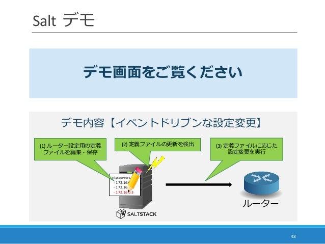 Salt デモ 48 デモ画面をご覧ください ルーター ntp.servers: - 172.16.0.1 - 172.16.0.2 - 172.16.0.3 (1) ルーター設定用の定義 ファイルを編集・保存 (2) 定義ファイルの更新を検出...