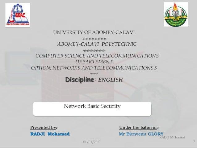 UNIVERSITY OF ABOMEY-CALAVI                 -o-o-o-o-o-o-o-o-         ABOMEY-CALAVI POLYTECHNIC                  -o-o-o-o-...