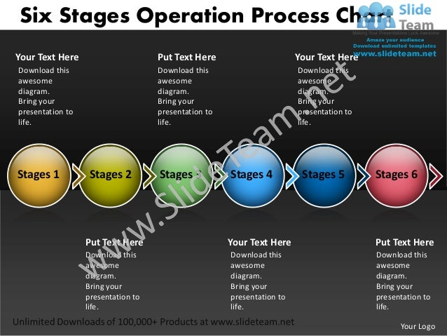 Network Diagram Template Six Stages Operation Process Chart Powerpoin