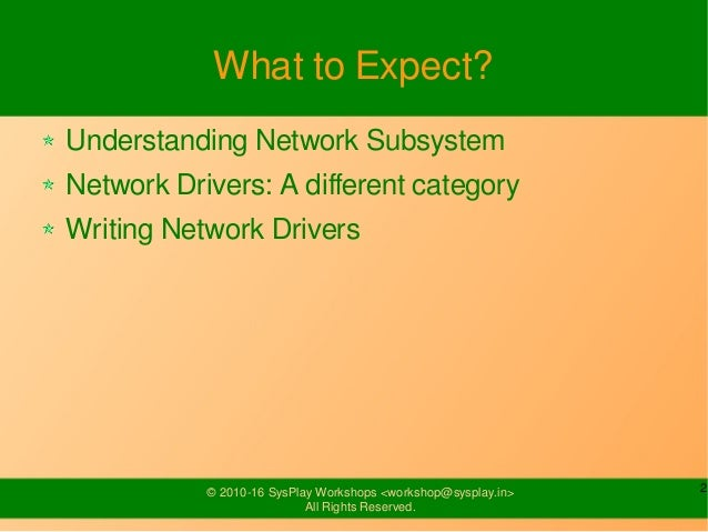 Network Drivers Slide 2