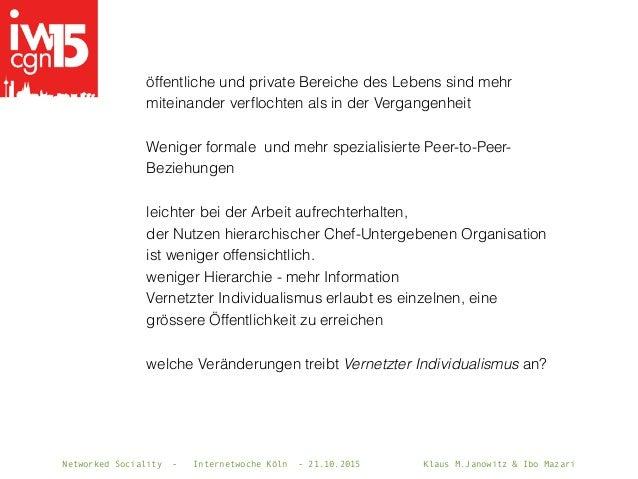 Networked Sociality - Internetwoche Köln - 21.10.2015 Klaus M.Janowitz & Ibo Mazari öffentliche und private Bereiche des L...