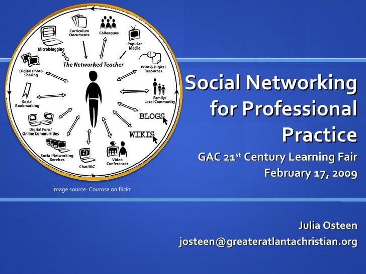 Social Networking for Professional Practice GAC 21 st  Century Learning Fair February 17, 2009 Julia Osteen [email_address...
