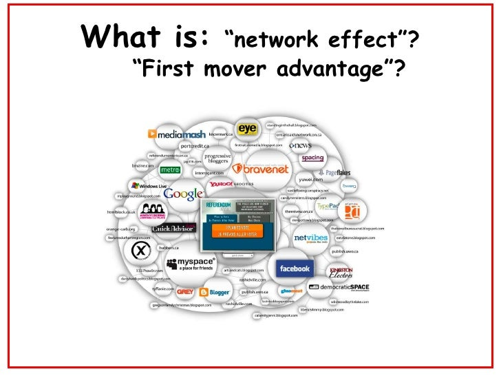 "What is:  ""network effect""?   ""First mover advantage""?"