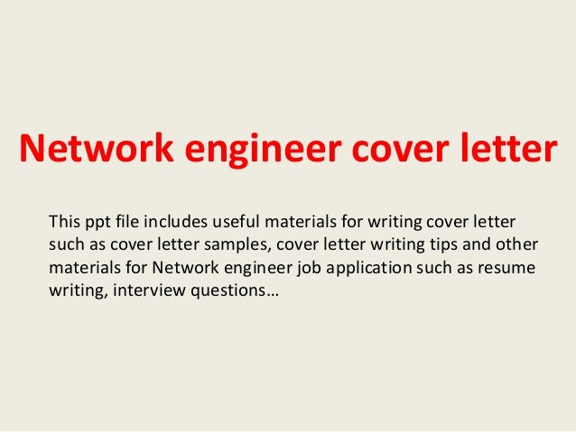 Cover Letter Network Engineer