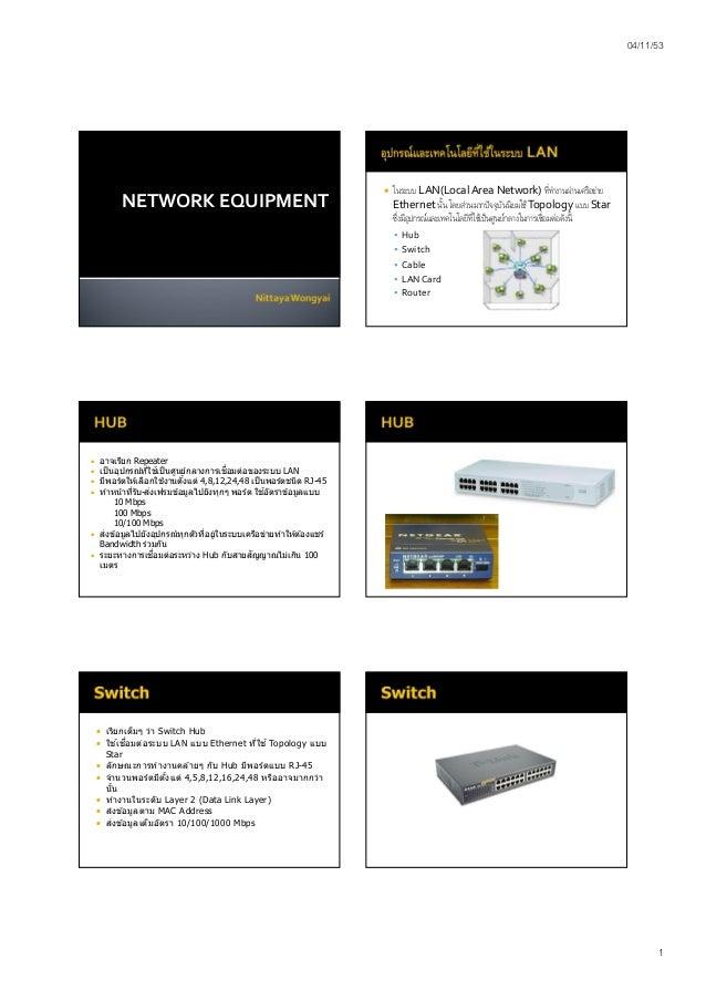 04/11/53 1 NETWORK EQUIPMENT  ในระบบ LAN(Local Area Network) ทีทํางานผ่านเครือข่าย Ethernet นัน โดยส่วนมากปัจจุบันนิยมใช้...