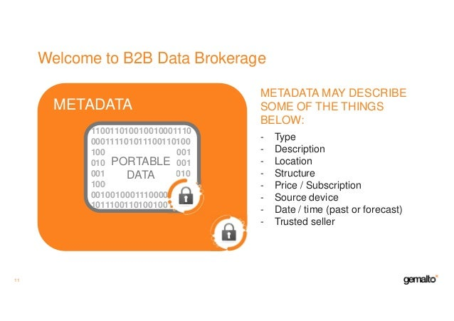 Welcome to B2B Data Brokerage 11 METADATA MAY DESCRIBE SOME OF THE THINGS BELOW: - Type - Description - Location - Structu...