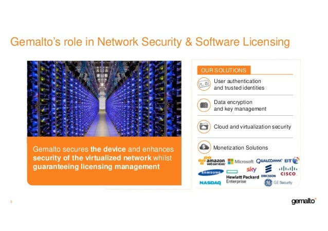 Gemalto's role in Network Security & Software Licensing 3 Gemalto secures the device and enhances security of the virtuali...