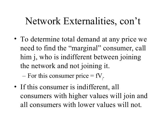 network externalities This type of side-effect in a transaction is known as an externality in economics, and externalities arising from network effects are known as network externalities this is also an example of a positive feedback loop contents [hide.