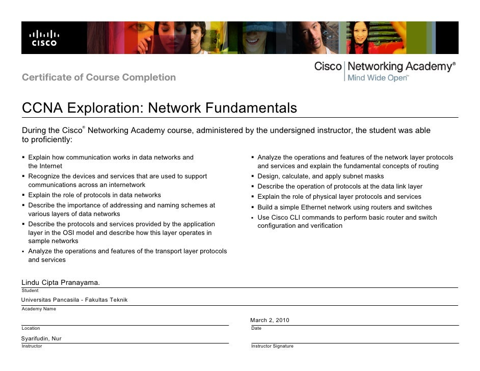 Certificate of Course Completion   CCNA Exploration: Network Fundamentals                       ® During the Cisco Network...