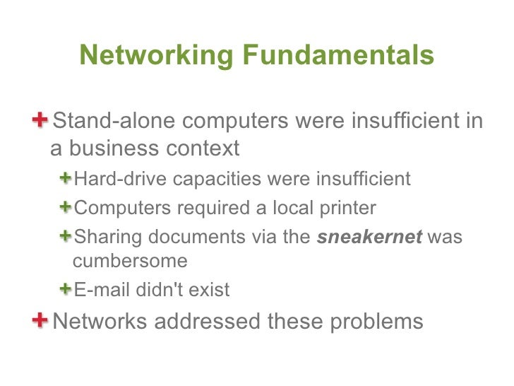 Networking FundamentalsStand-alone computers were insufficient ina business context  Hard-drive capacities were insufficie...