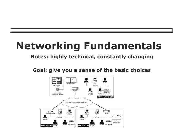 Networking Fundamentals Notes: highly technical, constantly changing Goal: give you a sense of the basic choices