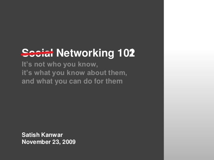 1<br />2<br />Social Networking 10<br />It's not who you know,<br />it's what you know about them,<br />and what you can d...