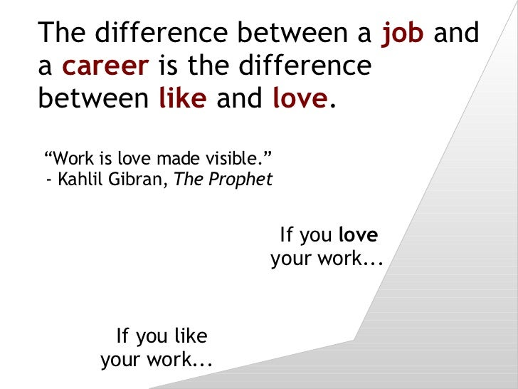 The difference between a  job  and a  career  is the difference between  like  and  love . If you like  your work... If yo...