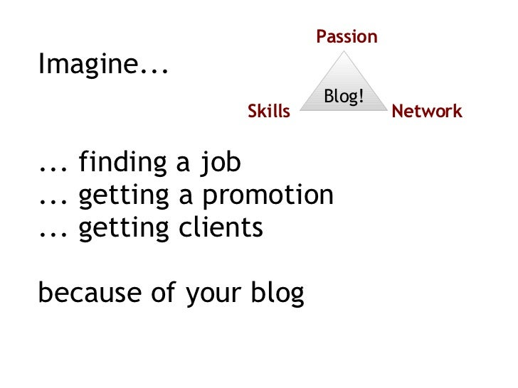 Imagine... ... finding a job ... getting a promotion ... getting clients because of your blog Blog! Passion Skills Network