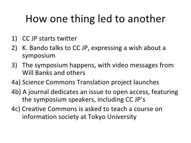 How one thing led to another <ul><li>CC JP starts twitter </li></ul><ul><li>K. Bando talks to CC JP, expressing a wish abo...