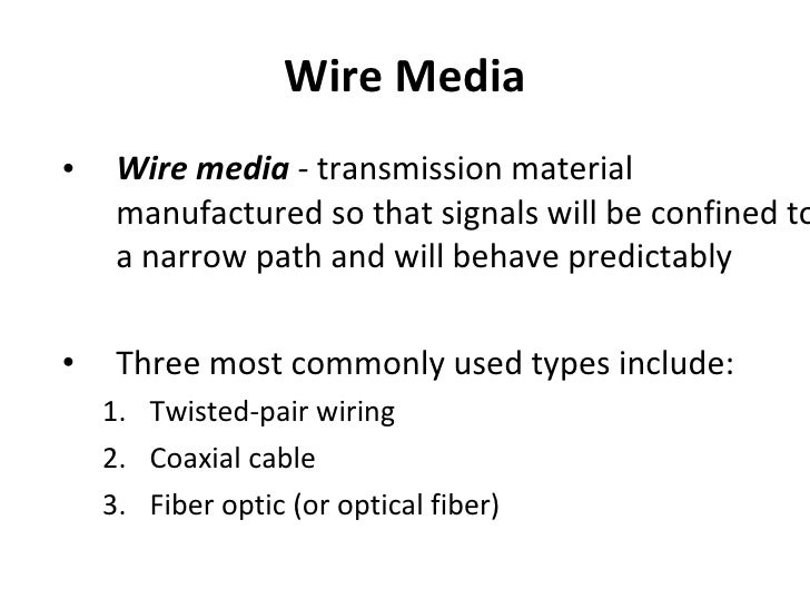 types of media used in a network
