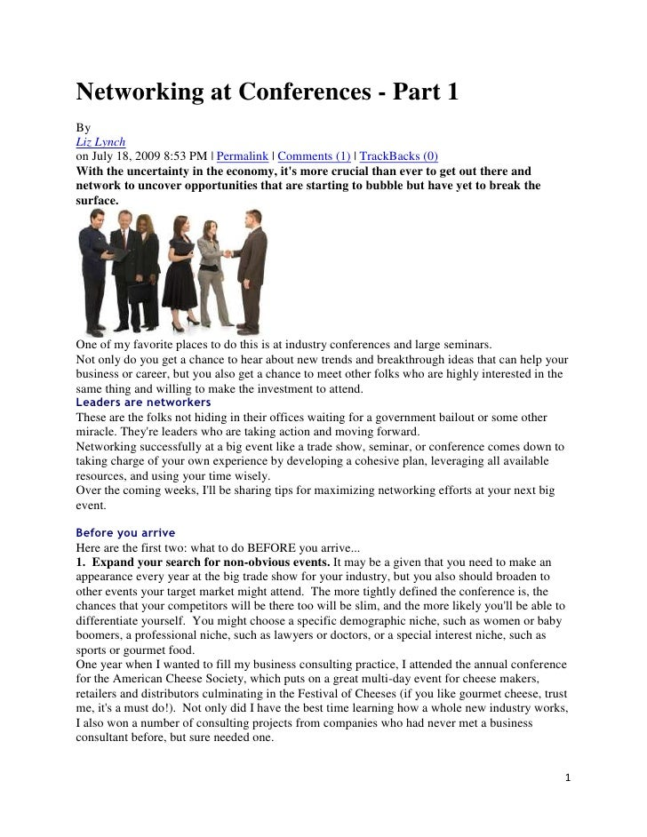 Networking at Conferences - Part 1<br />By <br />Liz Lynch<br />on July 18, 2009 8:53 PM | Permalink | Comments (1) | Trac...